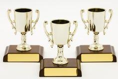 Tres trofeos, primero segundos y terceros Foto de archivo libre de regalías