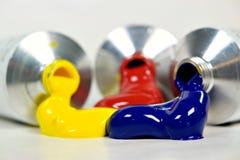 Tres tubos de pintura Imagen de archivo libre de regalías