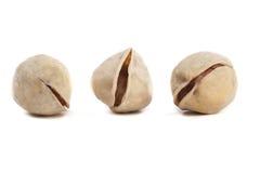 Tres tuercas de pistacho Fotos de archivo