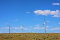 Tres turbinas de viento Imágenes de archivo libres de regalías