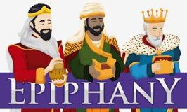 Tres unos de los reyes magos que sostienen sus regalos para celebrar la epifanía, ejemplo del vector Foto de archivo libre de regalías