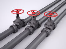 Tres válvulas rojas del petróleo Imagen de archivo libre de regalías