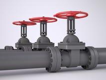 Tres válvulas rojas del petróleo Fotografía de archivo libre de regalías