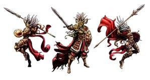 Tres valkyries con las armas stock de ilustración
