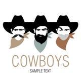 Tres vaqueros con el sombrero y el pañuelo para el cuello Imagen simbólica de América ilustración del vector