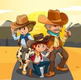 Tres vaqueros en el camino libre illustration