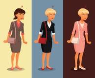 Tres variantes de los diversos peinados del businesswomanwith enojado y colores de la ropa Fotografía de archivo