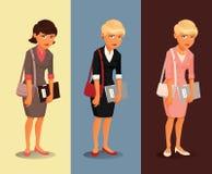 Tres variantes de una empresaria triste con los diversos peinados y colores de la ropa Fotos de archivo