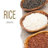 Tres variedades de arroz en cuencos de madera, foco selectivo Imagen de archivo libre de regalías