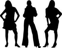 Tres vectores atractivos de las muchachas Fotografía de archivo