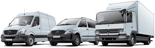 Tres vehículos comerciales Imagen de archivo libre de regalías