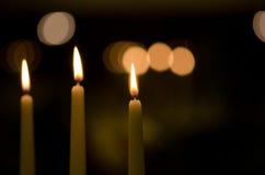 Tres velas Fotos de archivo libres de regalías