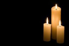 Tres velas Imágenes de archivo libres de regalías