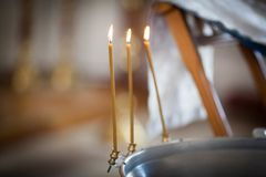 Tres velas de la iglesia Imagenes de archivo