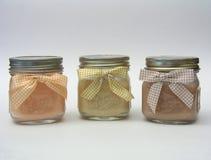 Tres velas del tarro Imagen de archivo libre de regalías