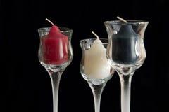 Tres velas sin quemar Foto de archivo libre de regalías