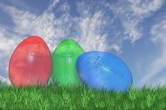 Tres ven a través los huevos de Pascua Fotografía de archivo libre de regalías
