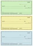 Tres verificaciones sin los números conocidos y falsos Imágenes de archivo libres de regalías