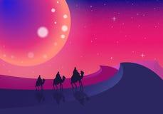Tres viajeros del camello en el desierto libre illustration