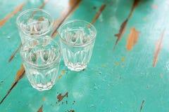 Tres vidrios de agua Foto de archivo