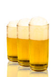 Tres vidrios de cerveza Foto de archivo