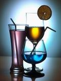Tres vidrios de coctel Fotografía de archivo