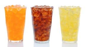 Tres vidrios de soda Fotografía de archivo libre de regalías