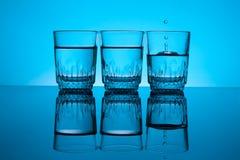 Tres vidrios de vodka Imagen de archivo libre de regalías