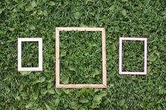 Tres viejos marcos de madera Imagenes de archivo