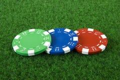 Tres virutas de póker Fotografía de archivo