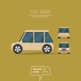 Tres vistas del coche Imágenes de archivo libres de regalías