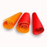 Tres volutas con las rayas del color Fotos de archivo libres de regalías
