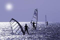 Tres windsurfers Fotografía de archivo