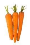 Tres zanahorias aisladas en un fondo blanco imágenes de archivo libres de regalías