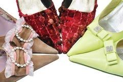 Tres zapatos de la belleza de los pares Imagen de archivo