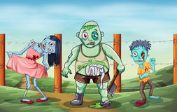 Tres zombis asustadizos Fotos de archivo libres de regalías