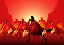 Tresciento Spartans en la batalla de Thermopylae ilustración del vector