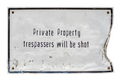 Trespassers Will Be Shot Sign royalty free stock photos