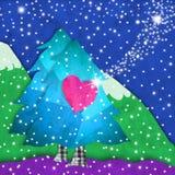 Tress рождества с поздравительной открыткой влюбленности Стоковые Изображения