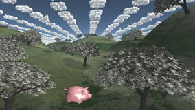 Tress of currency and dollar symbol clouds Stock Photo
