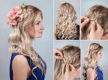 Tresse de coiffure avec les fleurs fraîches d'instruction Image libre de droits