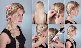 Tresse de coiffure avec les fleurs naturelles d'instruction Photos stock