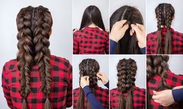 Tresses de la coiffure deux d'instruction photos libres de droits