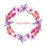 Tressez, cadre rond avec les libellules pourpres d'aquarelle, fleurs roses et branches Photo stock