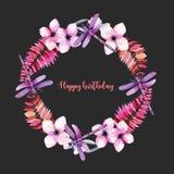 Tressez, cadre rond avec les libellules pourpres d'aquarelle, fleurs roses et branches Photographie stock libre de droits