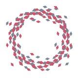 Tressez le cercle de l'entonnoir rouge et foncé de vol de modèle de losanges de jouer les Contras dispersés par cartes d'isolemen illustration libre de droits