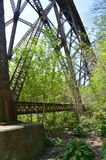 Trestle – foot and tower of an iron bridge. Trestle. Bridge construction and transportation. Railroad industry. Detail of an iron bridge. Rusty nults and Stock Photo