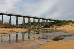 Trestle Bridge at Kilcunda beach stock photography