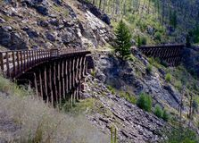 Trestle Bridges Kelowna Canada. Hiking trail on refurbished railway trestle bridges in Kelowna Canada Stock Photo
