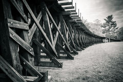 Trestle and Field Black and White Royalty Free Stock Images
